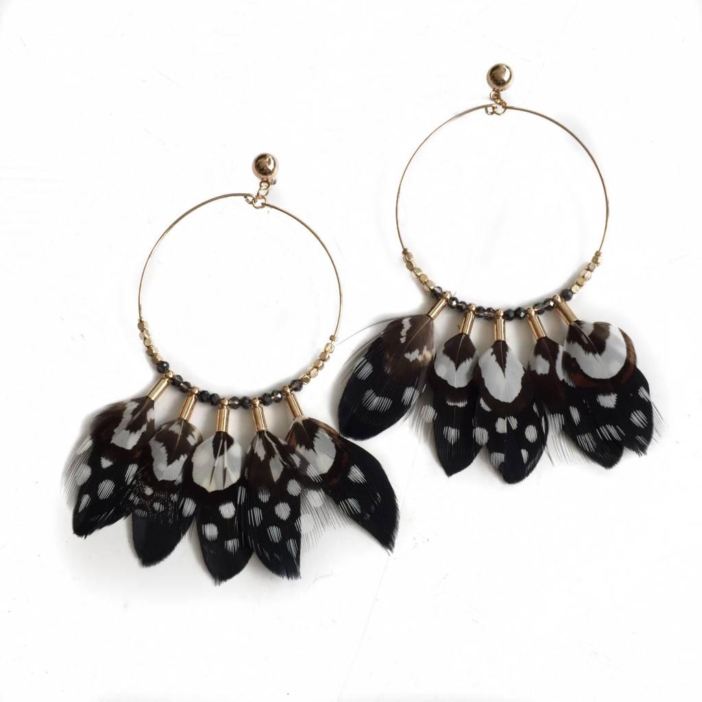 Hoop Earring w/ Feathers