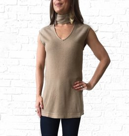 Taupe Mock Neck Tank Sweater