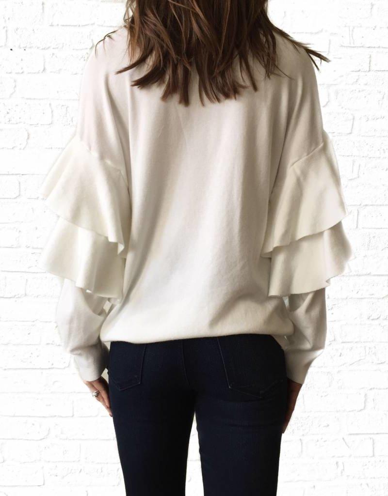 White Ruffle Sleeve Banded Sweater