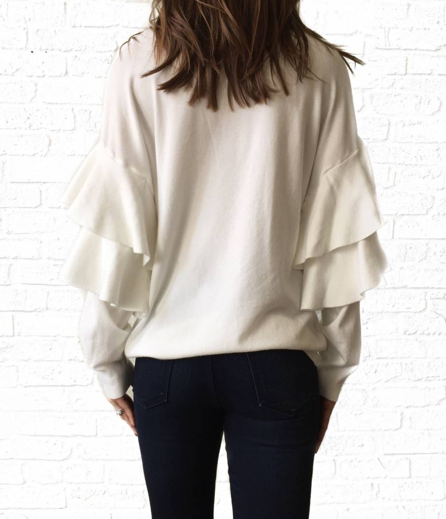 White Ruffle Sleeve Banded Sweater