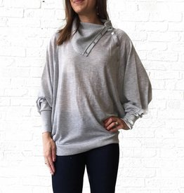 Grey Snap Dolman Sweater