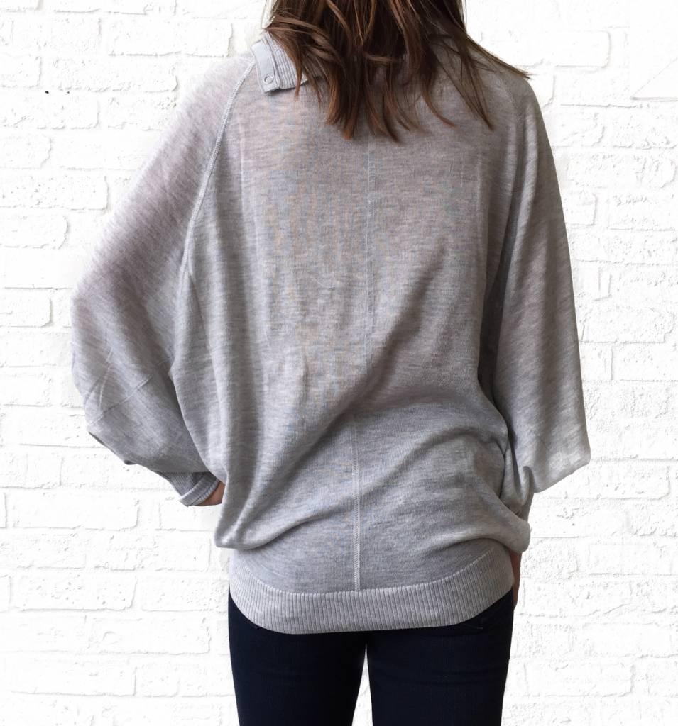 Grey Snap Dolman Sweater