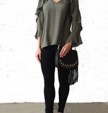 Sage Vneck Ruffle Chest Blouse