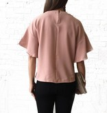 Rose Pink-Short Sleeve Ruffle Top
