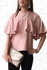 Rose Pink-Short Sleeve Ruffle Top