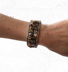 Bronze Embellished Leather Bracelet