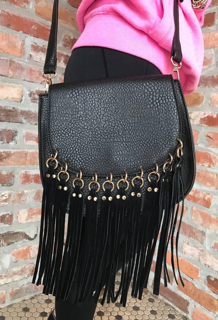 Black Messenger Bag w/ Tassels