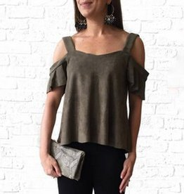 Olive Suede Off Shoulder Top