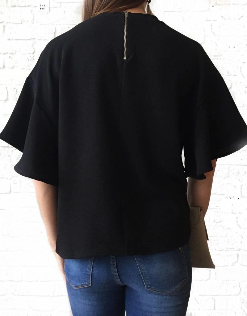 Black-Short Sleeve Ruffle Top