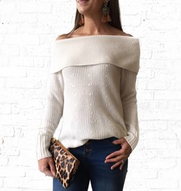 Off Shoulder Sweater-Frosted Milk