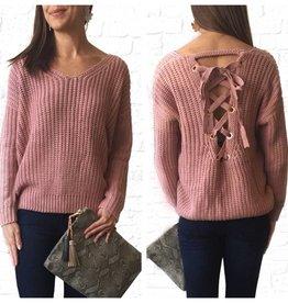 Mauve Lace-up Sweater