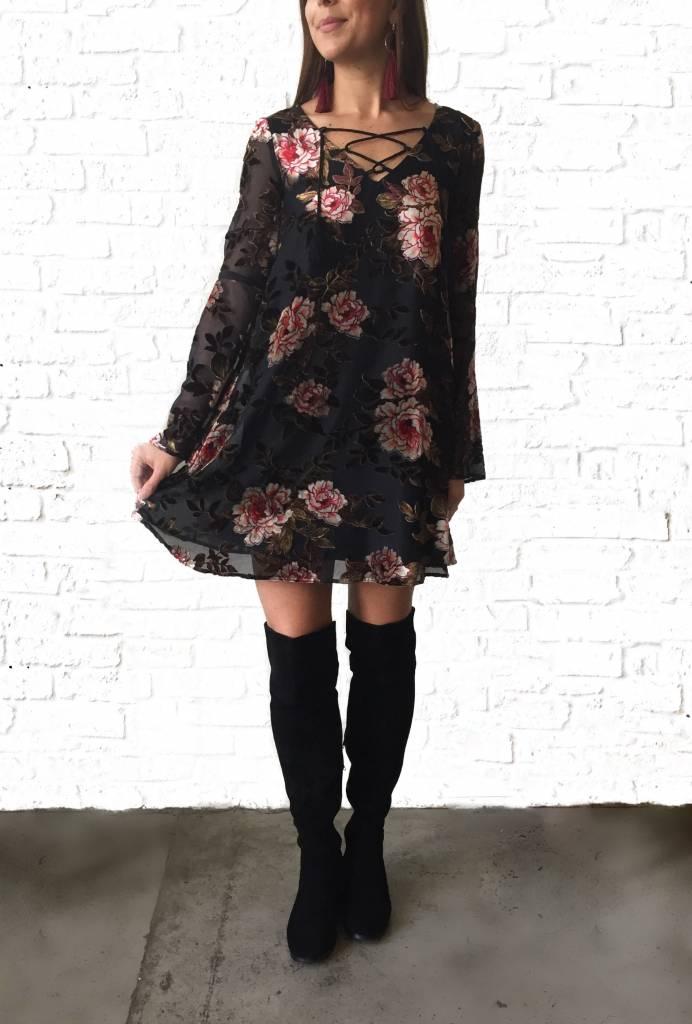 Floral Velvet Burnout Dress