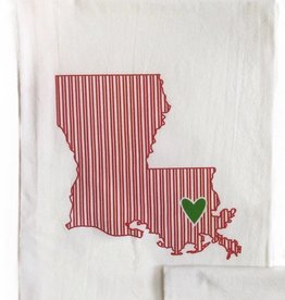 LA State Red Ticking w/ Green Heart