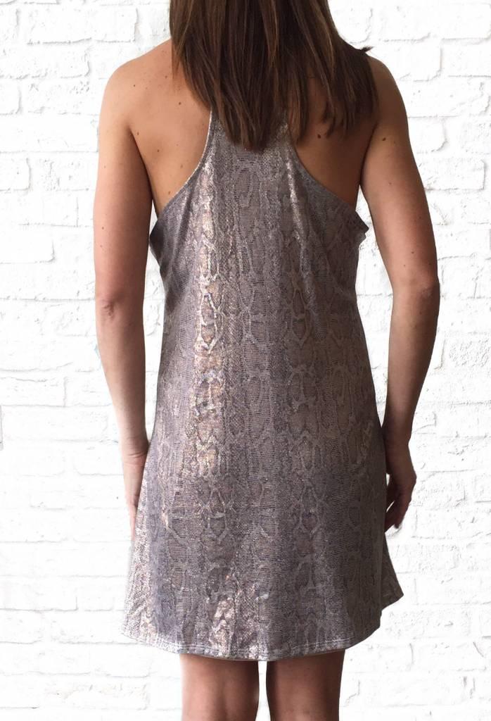 Metallic Snakeprint Racerback Dress