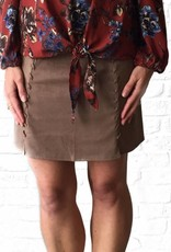 Almond Suede Braided Mini Skirt