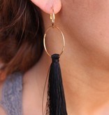 Black Double Hoop Tassel Earring
