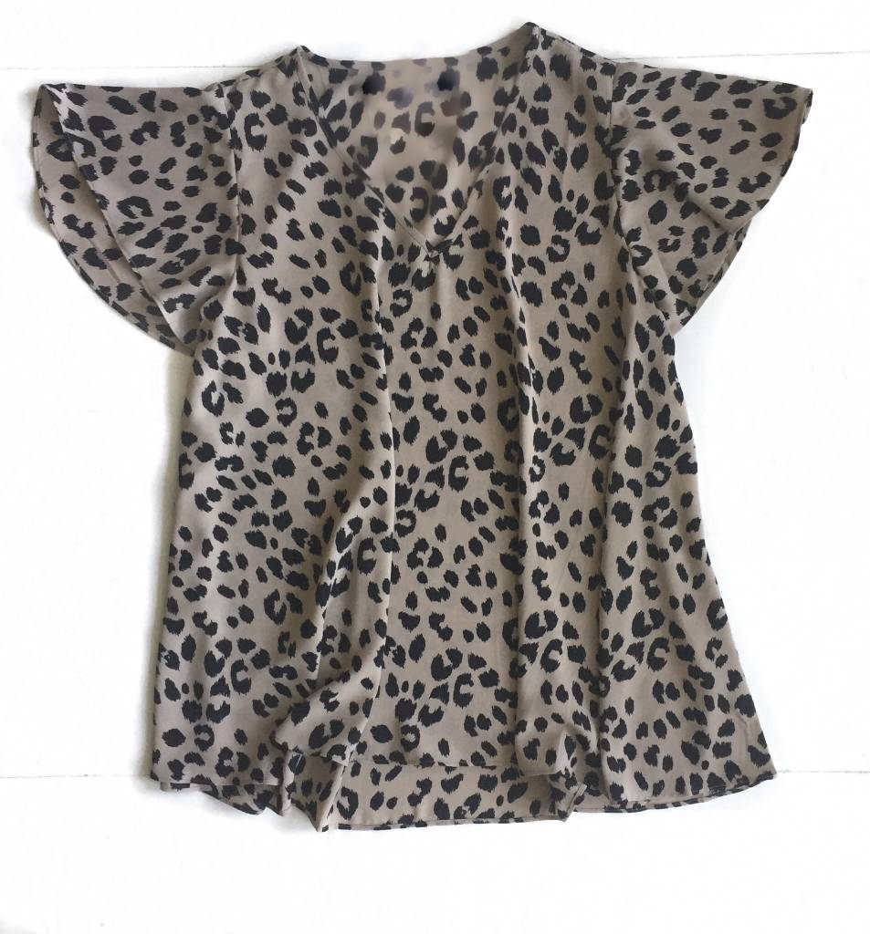 Cheetah Flutter Slv Top