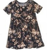 Short Sleeve Brwn Floral Print Dress