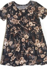 Short Sleeve Brwn Floral Print Dress