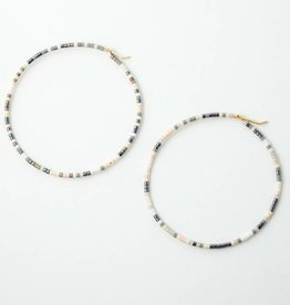 Erika Brass Beaded Hoop Marble