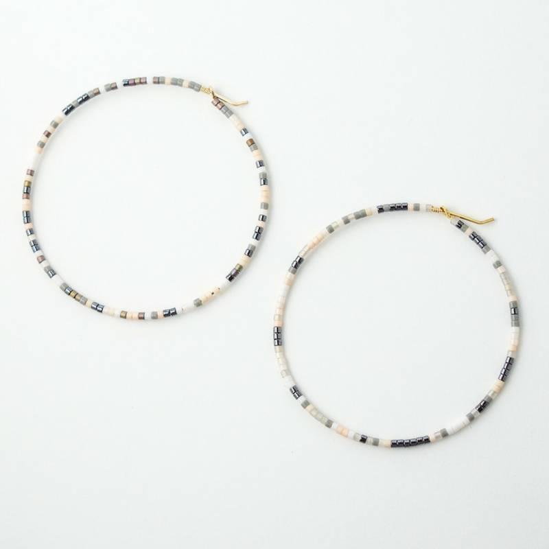 Erika Brass Beaded Hoop Marble