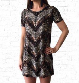 Short Sleeve  Tan/Blk Print Dress