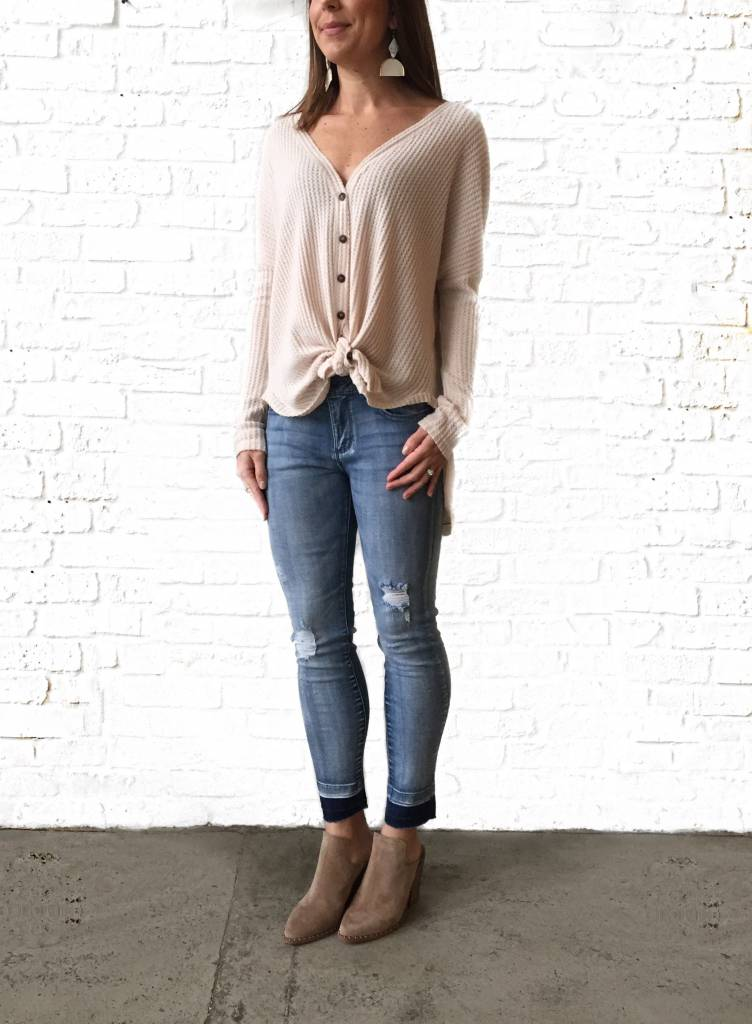 Oatmeal Waffle Knit Oversized Button Front Top