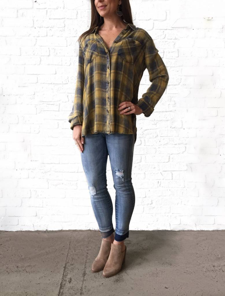 Mustard/Navy Plaid Top