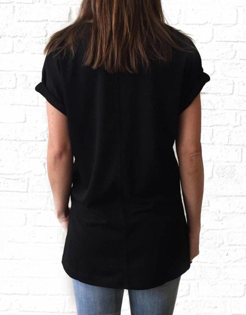 Black Vneck French Tunic