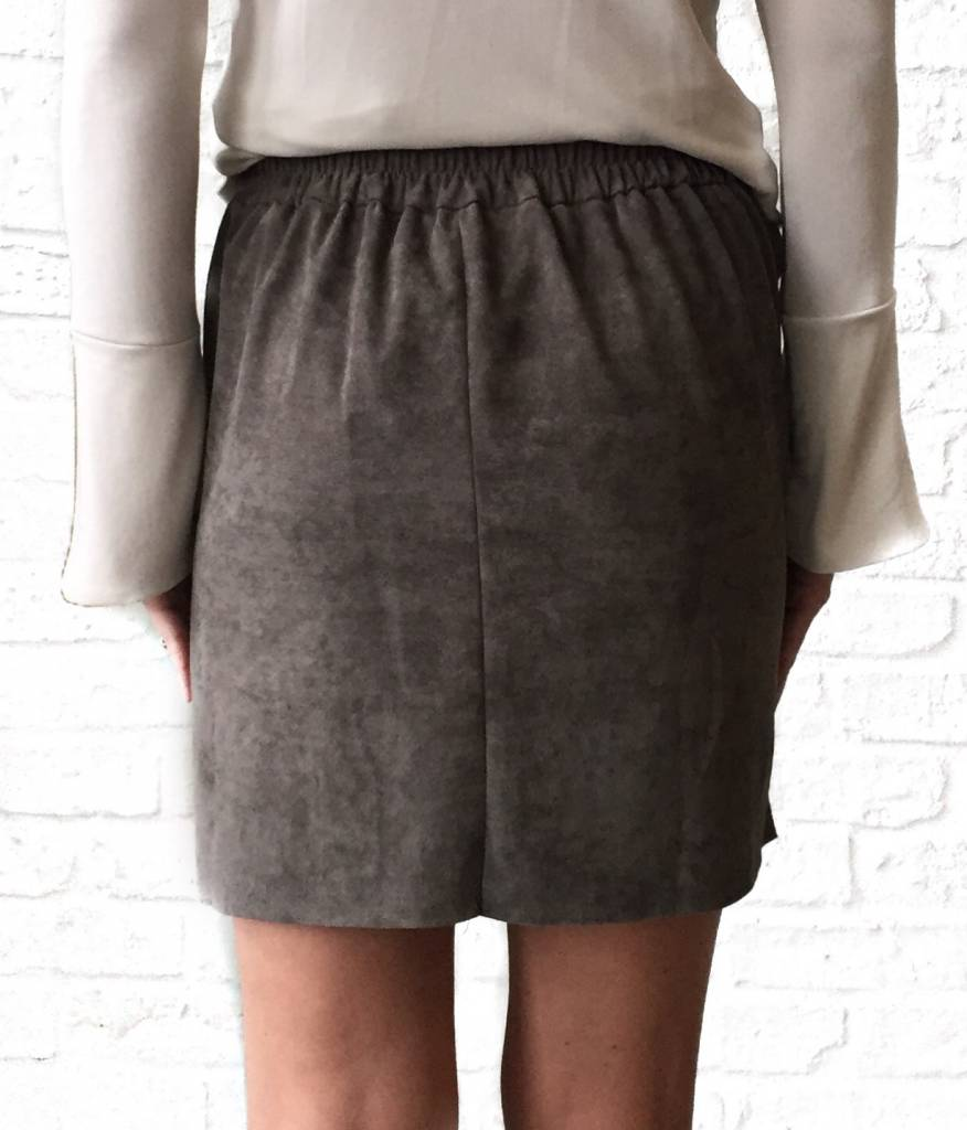 Smoked Grey Suede Skirt