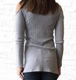 Earl Grey Cold Shoulder Knit Top