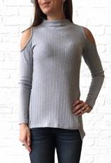 Earl Grey Cold Shoulder Knit Top