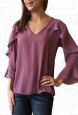 Lavender Vneck Ruffle Chest Blouse
