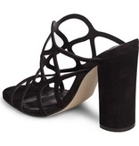 Honeycomb Black Block Heel