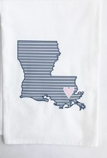 LA State Navy Stripe/Pink Heart Towel