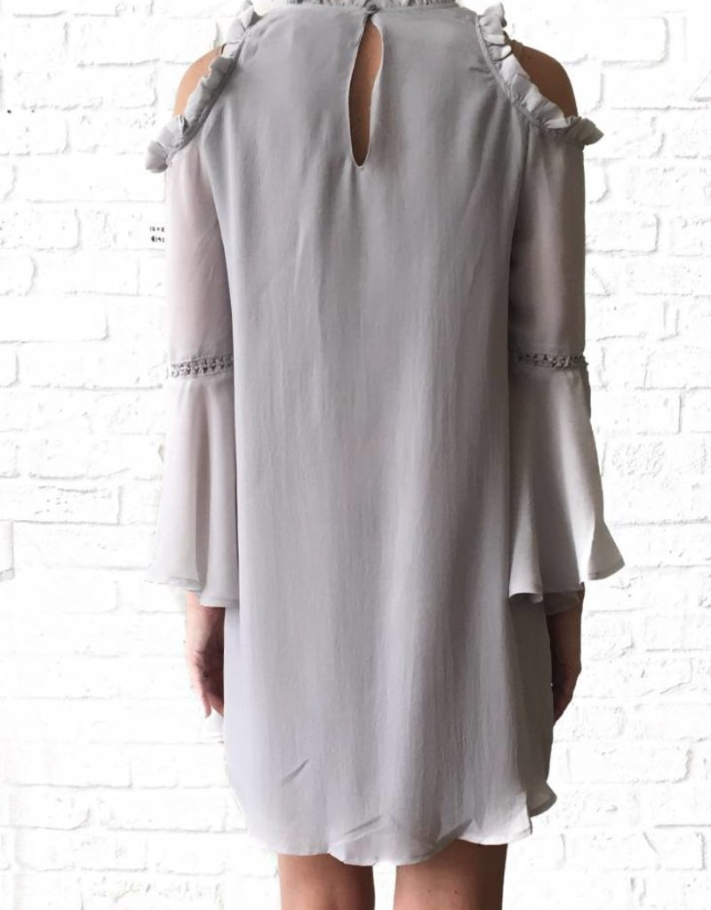 Grey Ruffle Cld Shldr Dress
