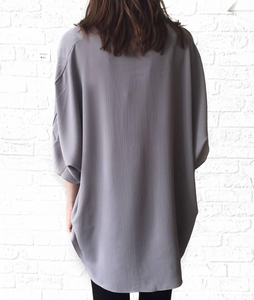 Grey V-neck Tunic Blouse