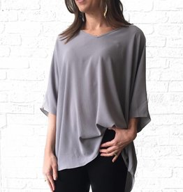 Grey V-neck Tunic Blouse