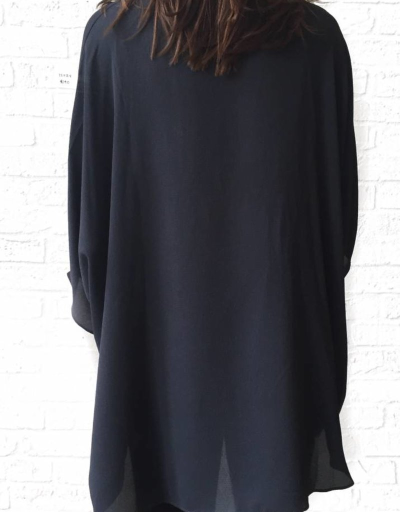 Charcoal V-neck Tunic Blouse