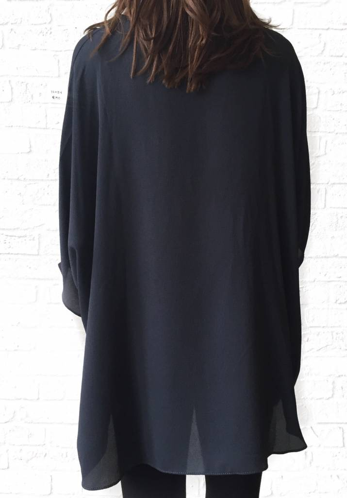 Charcoal V-neck Tunic Blouse