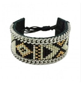 Kim and Zozi Hand loomed Japanese Miyuki bead bracelet on leather with chain element