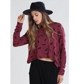 LOLA PULLOVER BURGUNDY FEATHER