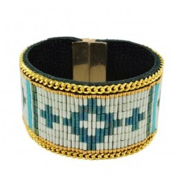 Kim and Zozi Hand loomed Japanese Miyuki Bugle bead bracelet with chain element on leather and magnetic clasp