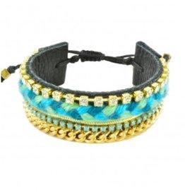 Kim and Zozi Cotton braid, rhinestone and chain element on leather