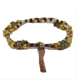 Kim and Zozi Miyuki glass seed bead necklace/bracelet with rhino, skull and tassel element
