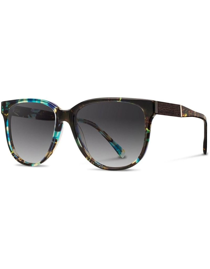 SHWOOD SHWOOD MCKENZIE ACETATE BLUE OPAL / EBONY POLARIZED SUNGLASSES