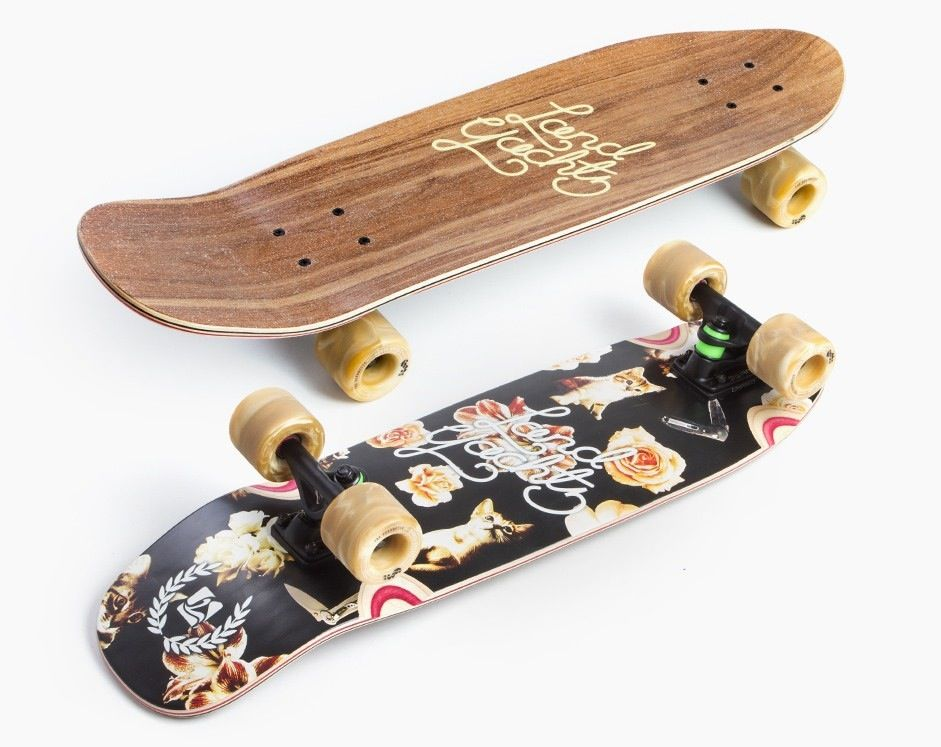 """LANDYACHTZ LANDYACHTZ DINGHY CAT PATTERN 28.5""""Built for the everyday skater, the Dinghy is our go-to, easy to skate cruiser. We based this board off our original Dinghy design but added some modern features like soft top grip tape, sanded and pressed wheel wells and"""