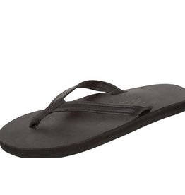 Rainbow Sandals WOMENS BLACK PREMIER LEATHER SINGLE LAYER NARROW STRAP