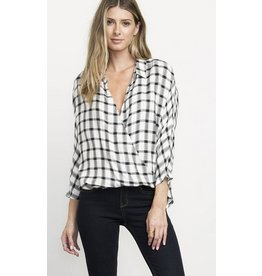 RVCA RVCA COMMANDER PLAID TOP - BLACK/WHITE