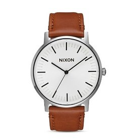 NIXON NIXON PORTER LEATHER WHITE SUNRAY/SADDLE WATCH